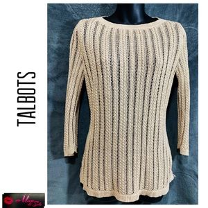 TALBOTS Metallic Gold Loose Knit Sweater